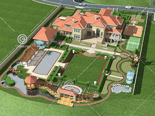 带私家庭院的超豪华别墅庄园3D模型下载