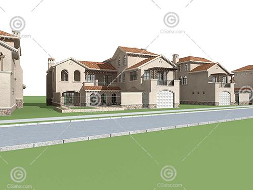带有围墙的别墅模型下载