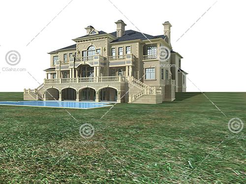带泳池的别墅模型下载