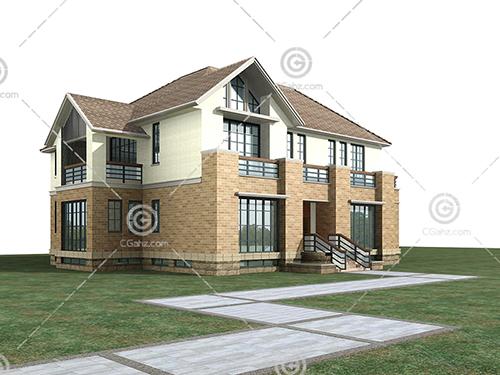 带有尖屋顶的独栋别墅3D模型下载