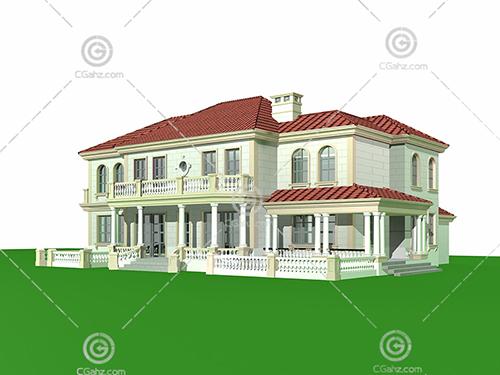 带有台阶的别墅3D模型下载