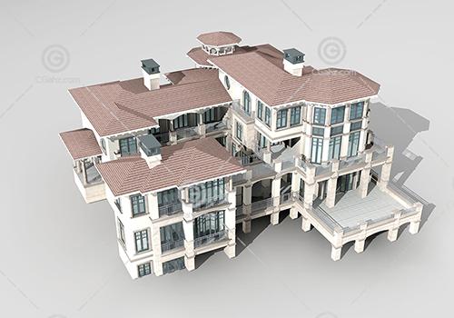 带有走廊的别墅3D模型下载