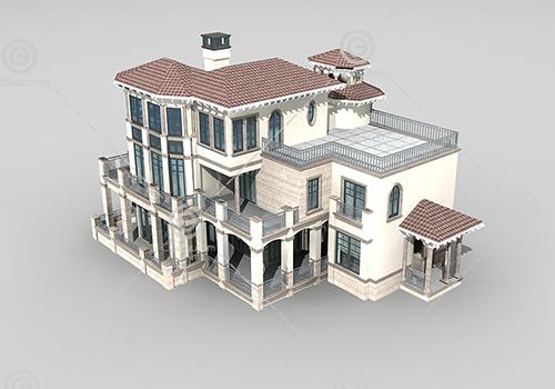 带栏杆的别墅3D模型下载