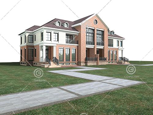带栏杆的别墅模型下载