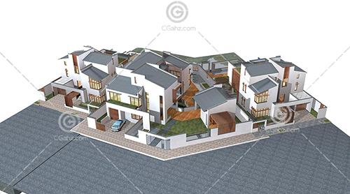 3栋别墅组合模型下载