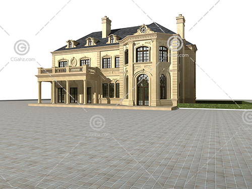 石材结构的别墅3D模型下载