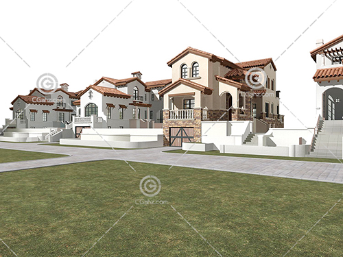 多栋别墅3D模型下载