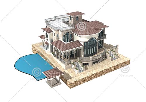 带有游泳池的别墅3D模型下载