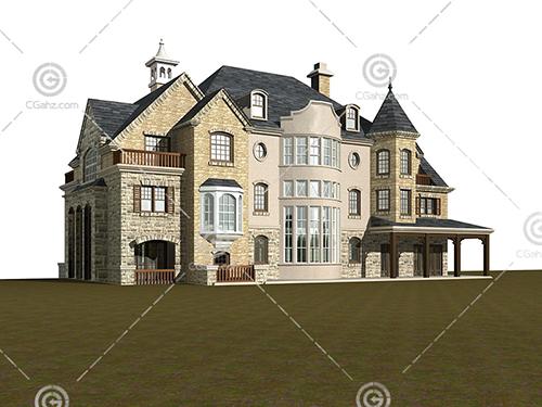 城堡样式的别墅3D模型下载