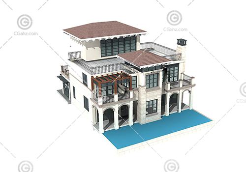 带有泳池的别墅模型下载