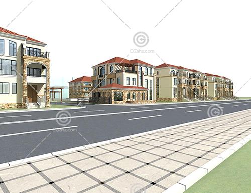 别墅区3D模型下载
