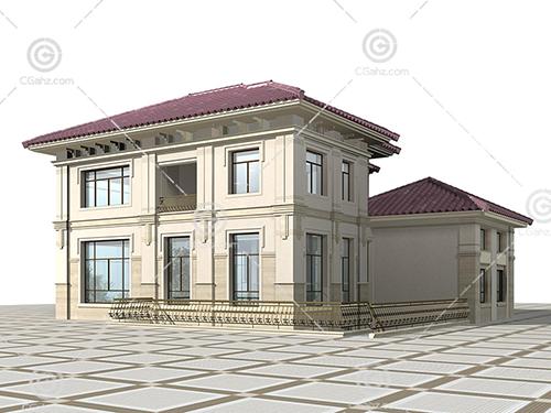 带栏杆的小别墅3D模型下载