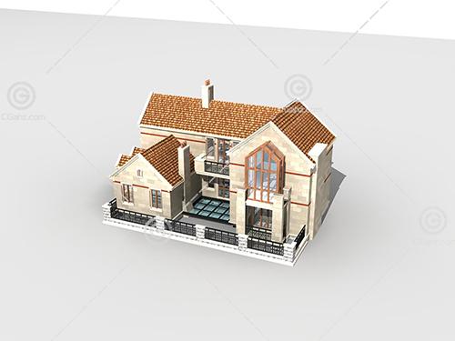 带围墙的别墅模型下载