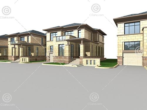 带有台阶的独栋别墅模型下载