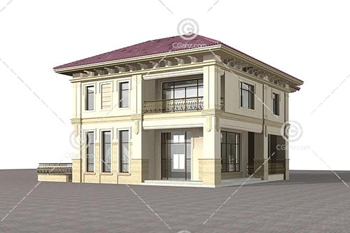 带有玻璃门的别墅3D模型下载