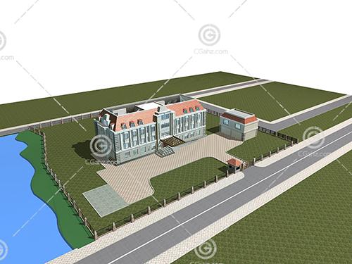 带有围墙的独栋别墅模型下载