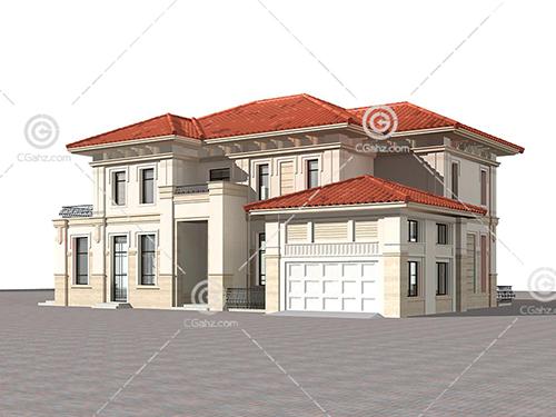 带有红色屋顶的独栋别墅模型下载