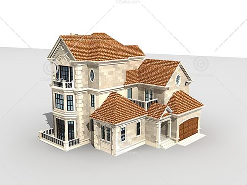 带有台阶的别墅模型下载