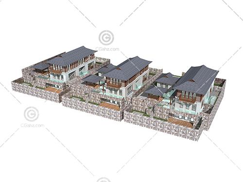 带有亭子的别墅3D模型下载