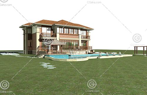 带有泳池的独栋别墅3D模型下载