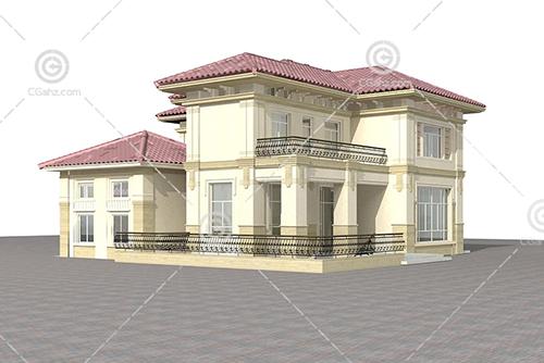带有栏杆的别墅模型下载