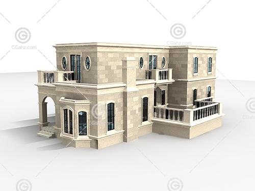 石材结构的别墅3D模型