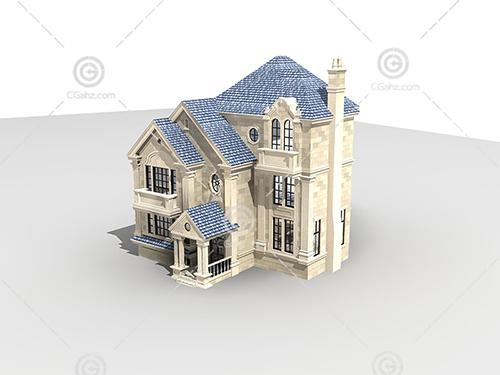 带灰色瓦片的别墅模型下载