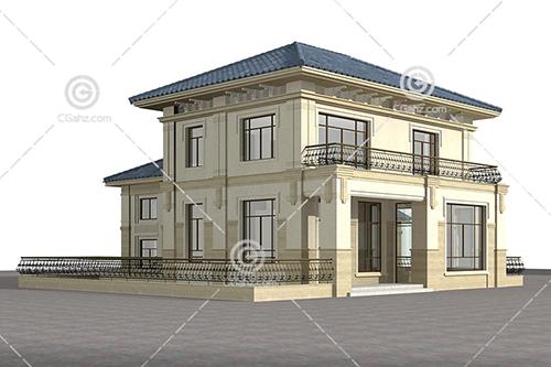 带有灰色瓦片的小别墅模型下载