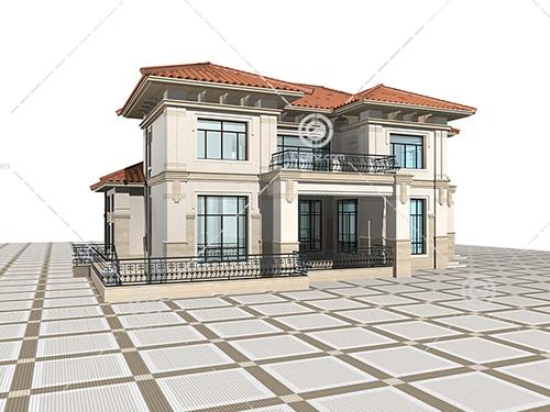 带栏杆的小别墅模型下载