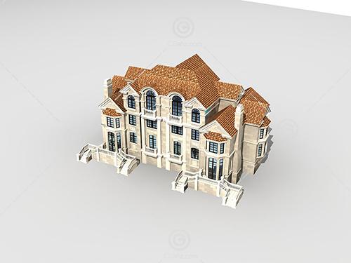 带有室外扶梯的别墅3D模型下载