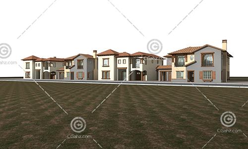 横向排列的别墅3D模型下载