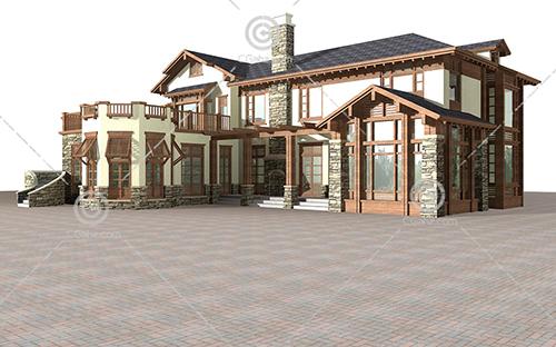 双层别墅3D模型下载