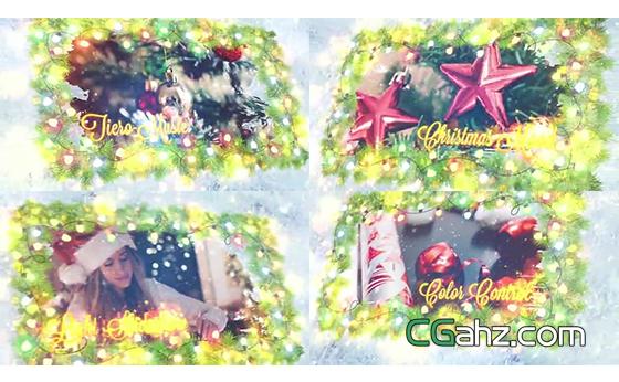 节日灯光花环中的美好圣诞节AE模板