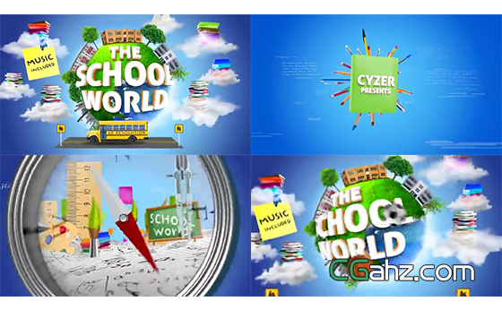 校园教育主题的三维包装片头动画AE模板