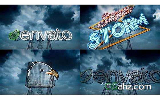 闪电风暴中电线铁塔上的霓虹灯标志特效AE模板