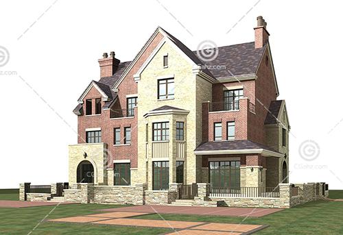 带围墙的现代别墅模型下载