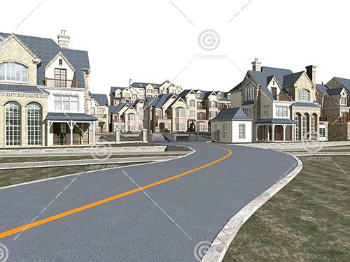 欧式风格的别墅群3D模型下载