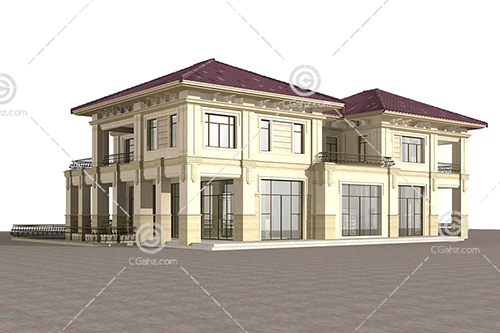 现代简洁的别墅3D模型下载