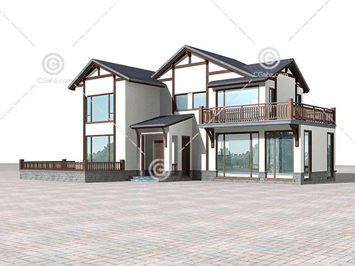 简洁的现代别墅3D模型下载