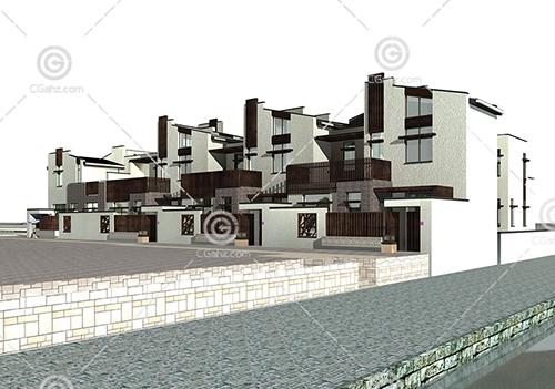 简单的组合式建筑3D模型下载