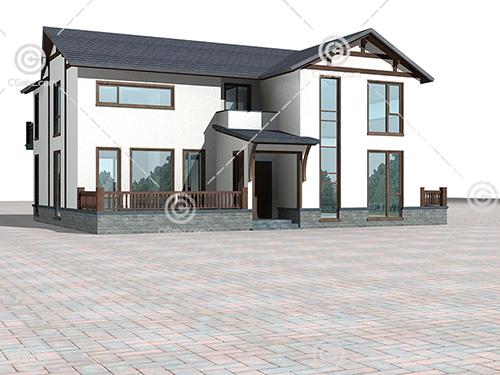简单的现代别墅3D模型下载