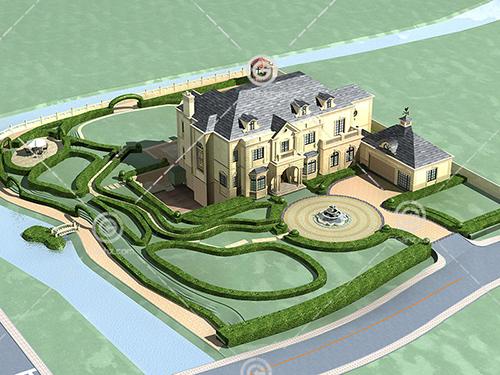 带有喷泉的独栋别墅3D模型下载