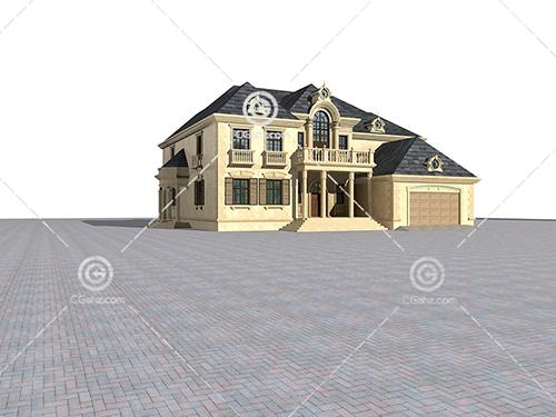 欧式独栋别墅3D模型下载