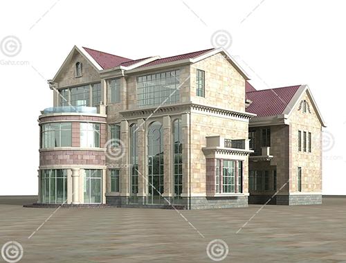 欧式双拼别墅3D模型下载