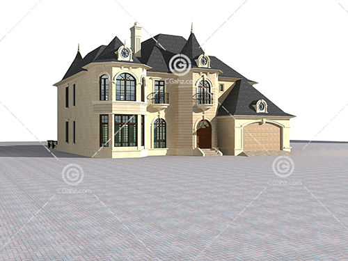 欧式城堡样式的别墅3D模型下载