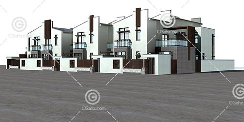 联排别墅3D模型下载