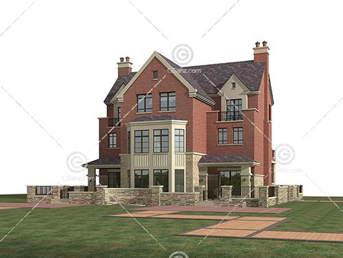 现代的独栋别墅3D模型下载