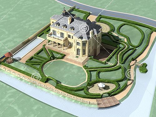 带有泳池的别墅3D模型下载