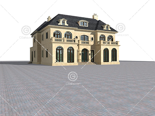 带有拱门的欧式别墅模型下载