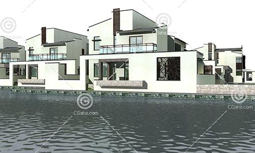 带有围墙的现代别墅模型下载